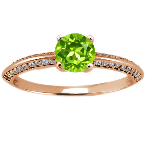 Gem Stone King 1.18 Ct Round Green Peridot 925 Rose Gold Plated Silver Ring