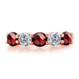 1.05 Ct Round Checkerboard Red Garnet G/H Diamond 18K Rose Gold Plated Silver Wedding Band Ring