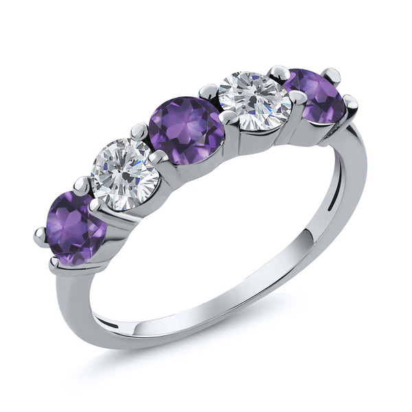 0.75 Ct Round Purple Amethyst G/H Diamond 925 Sterling Silver Wedding Band Ring