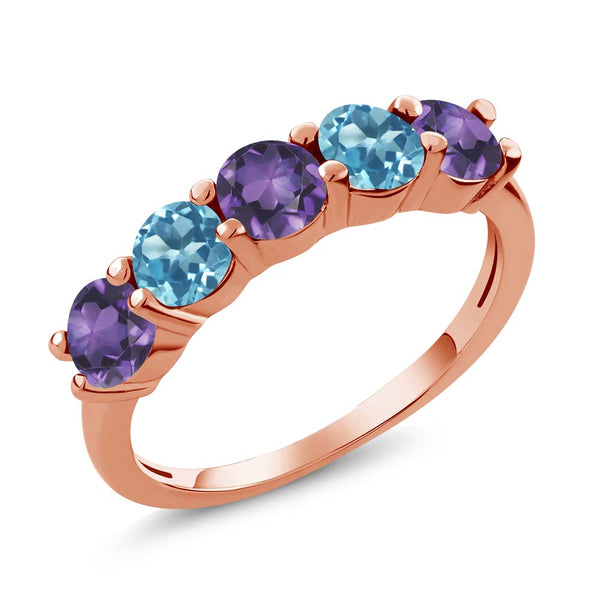 0.85 Ct Purple Amethyst Swiss Blue Topaz 18K Rose Gold Plated Silver Wedding Band Ring