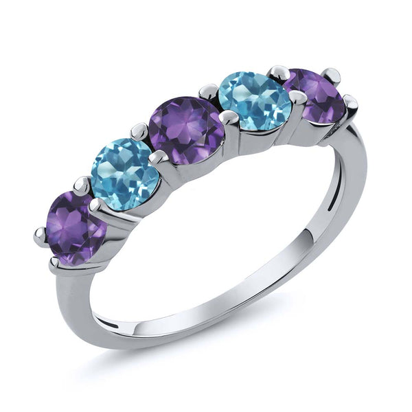 0.85 Ct Purple Amethyst Swiss Blue Topaz 925 Sterling Silver Wedding Band Ring