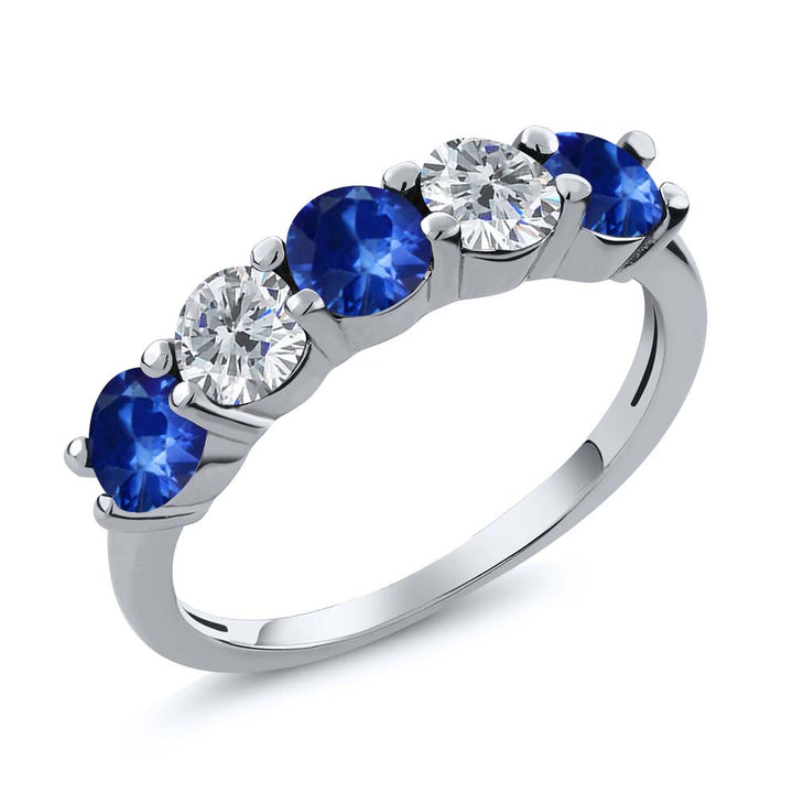 Gem Stone King 1.06 Ct Round Blue Sapphire G/H Diamond 925 Sterling Silver Wedding Band Ring