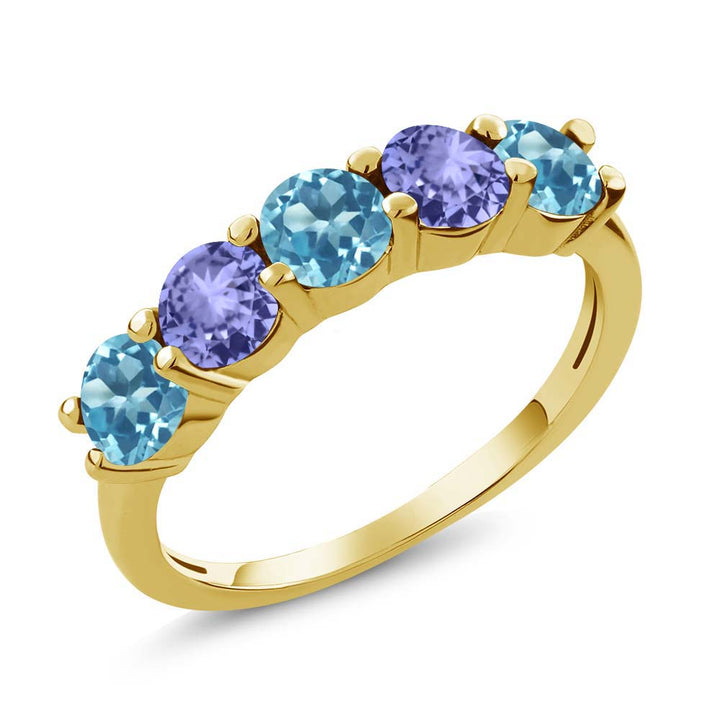 Gem Stone King 0.96 Ct Swiss Blue Topaz Blue Tanzanite 18K Yellow Gold Plated Silver Wedding Band Ring