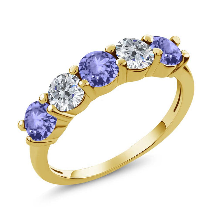 Gem Stone King 0.88 Ct Blue Tanzanite G/H Diamond 18K Yellow Gold Plated Silver Wedding Band Ring
