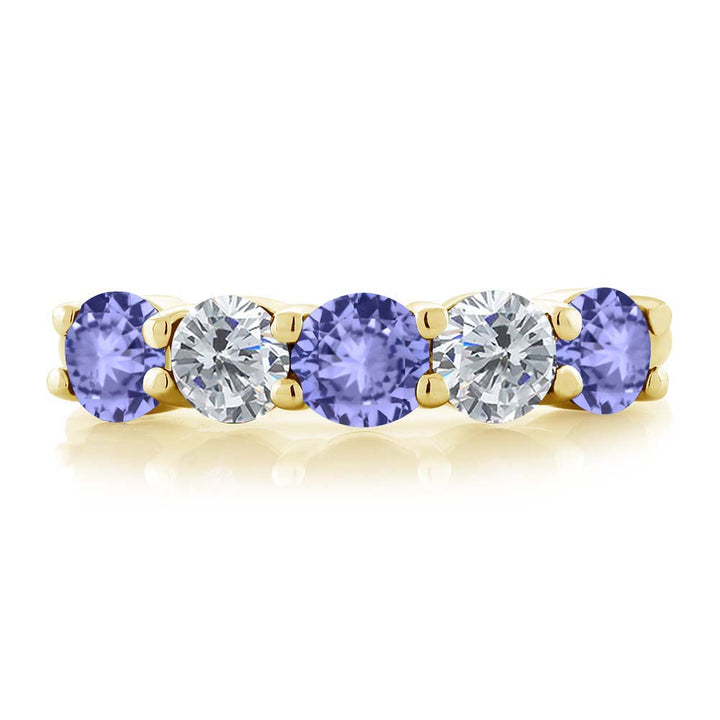 0.88 Ct Blue Tanzanite G/H Diamond 18K Yellow Gold Plated Silver Wedding Band Ring