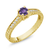 Gem Stone King 0.37 Ct Round Purple Amethyst 925 Yellow Gold Plated Silver Ring