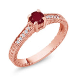 Gem Stone King 0.42 Ct Round Red Ruby White Created Sapphire 18K Rose Gold Plated Silver Ring