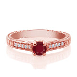 0.42 Ct Round Red Ruby White Created Sapphire 18K Rose Gold Plated Silver Ring