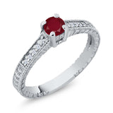 Gem Stone King 0.42 Ct Round Red Ruby White Topaz 925 Sterling Silver Engagement Ring