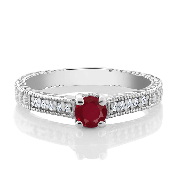 0.42 Ct Round Red Ruby White Topaz 925 Sterling Silver Engagement Ring