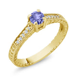 Gem Stone King 0.43 Ct Round Blue Tanzanite 18K Yellow Gold Plated Silver Ring