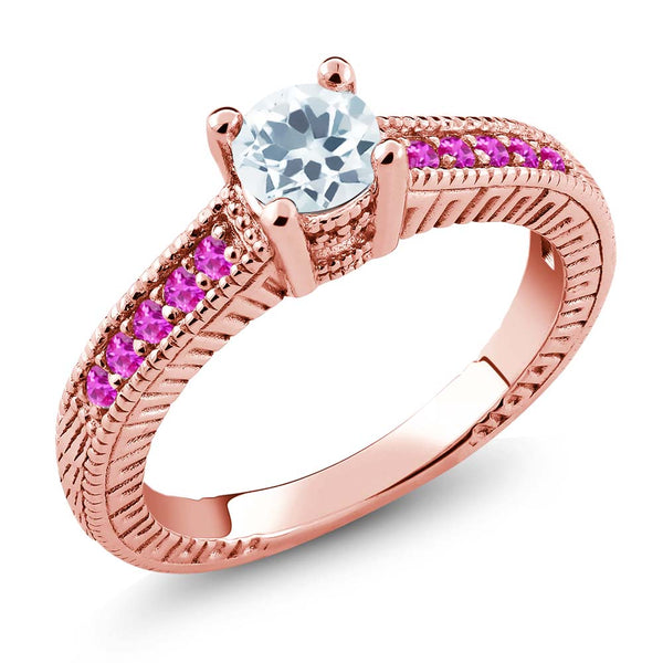 Gem Stone King 0.63 Ct Round Sky Blue Aquamarine Pink Sapphire 925 Rose Gold Plated Silver Ring