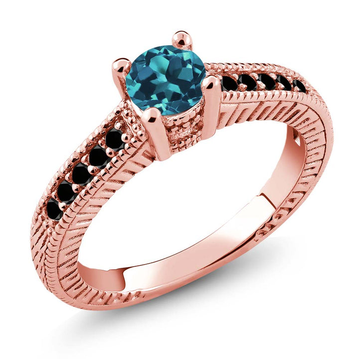 Gem Stone King 0.72 Ct Round London Blue Topaz Black Diamond 925 Rose Gold Plated Silver Ring