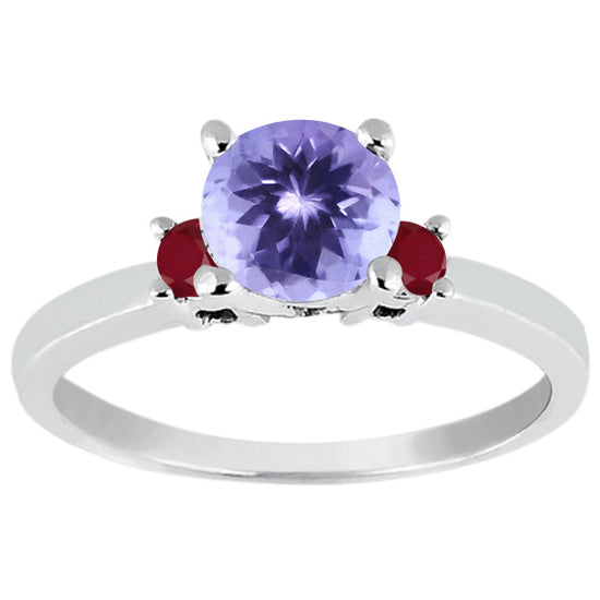 0.90 CT Rond Bleu Tanzanite 925 Sterling Silver Ring