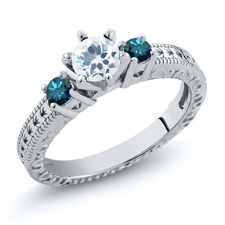 Gem Stone King 0.69 Ct Round Sky Blue Aquamarine Blue Diamond 925 Sterling Silver 3-Stone Ring