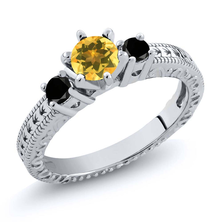 Gem Stone King 0.69 Ct Round Yellow Citrine Black Diamond 925 Sterling Silver 3-Stone Ring