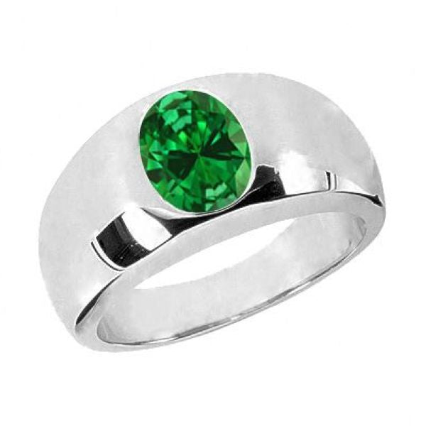 2.10 Ct Oval Green VS Simulated Emerald 925 Sterling Silver Men's Ring