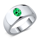 Gem Stone King 2.10 Ct Oval Green VS Simulated Emerald 925 Sterling Silver Men's Ring