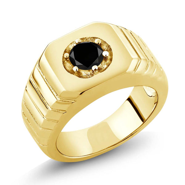 0.55 Ct Black AAA Diamond 18K Yellow Gold Plated Silver Men's Solitaire Ring