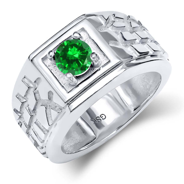 0.84 Ct Round Green VS Simulated Emerald 925 Sterling Silver Men's Solitaire Ring