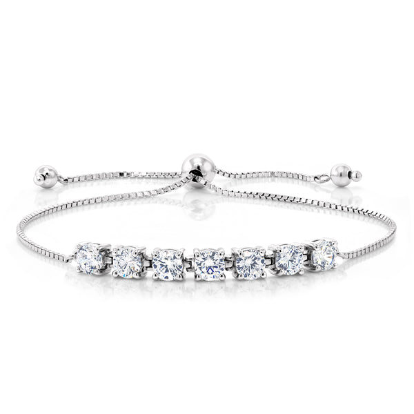 925 Silver Adjustable Bracelets with 2.31Cttw DEW Round White Created Moissanite