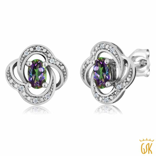 Womens Oval 5X3Mm Green Mystic Topaz 18K White Gold Diamond Stud Earrings - Jewelry