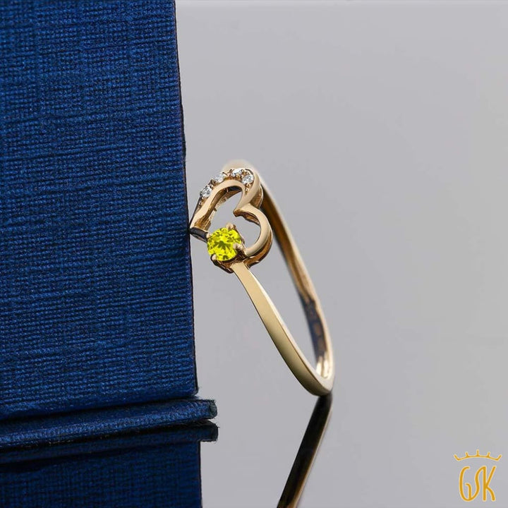 Womens Round Canary Diamond 10K Yellow Gold Diamond Ring - Jewelry