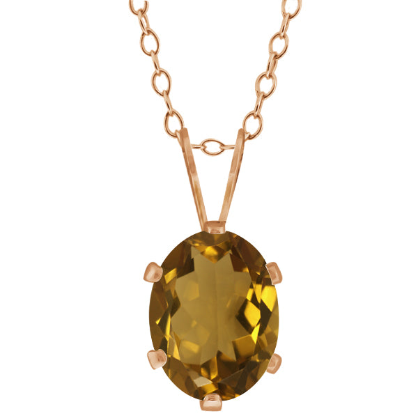 Gem Stone King 1.15 Ct Oval Shape Whiskey Quartz Rose Gold Plated Silver Pendant