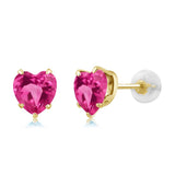 Gem Stone King 1.90 Ct Heart Shape 6mm Pink Mystic Topaz 10K Yellow Gold Stud Earrings