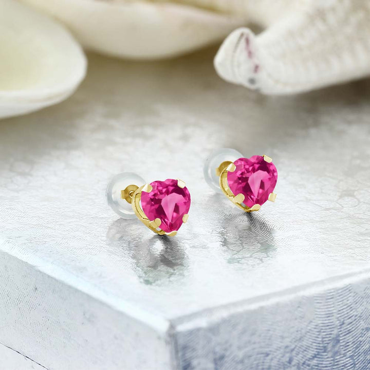 1.90 Ct Heart Shape 6mm Pink Mystic Topaz 10K Yellow Gold Stud Earrings