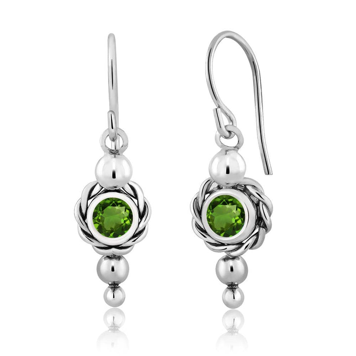 Gem Stone King 1.00 Ct Round Green Chrome Diopside 925 Sterling Silver Women's Earrings