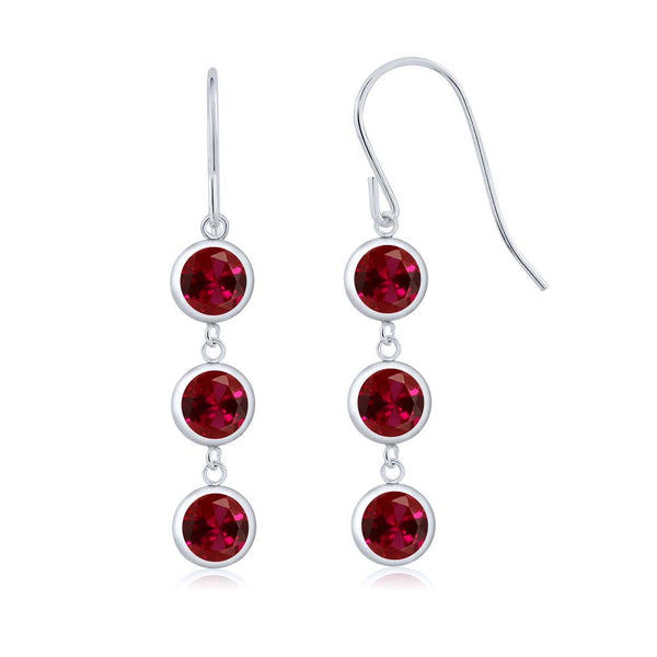 3.60 Ct Round Red Created Ruby 925 Sterling Silver Women's Dangle Earrings