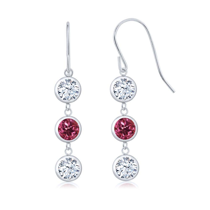 Gem Stone King 4.00 Ct Round White Zirconia Pink Tourmaline AA 925 Sterling Silver Three Stone Dangle Earrings