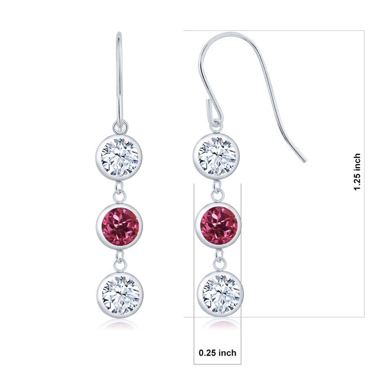 4.00 Ct Round White Zirconia Pink Tourmaline AA 925 Sterling Silver Earrings