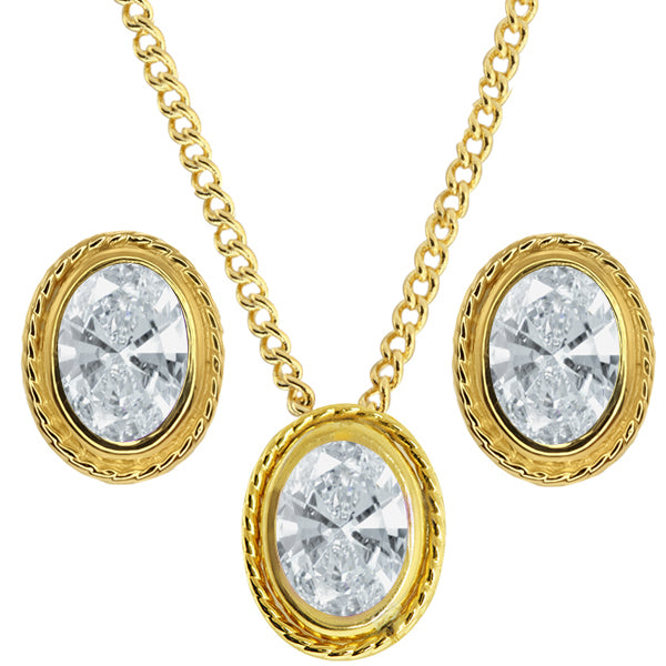 2.28Ct White  YG Plated Silver Pendant Earrings Set Made With Swarovski Zirconia