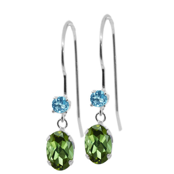 Gem Stone King 0.96 Ct Oval Green Tourmaline Swiss Blue Simulated Topaz 14K White Gold Earrings