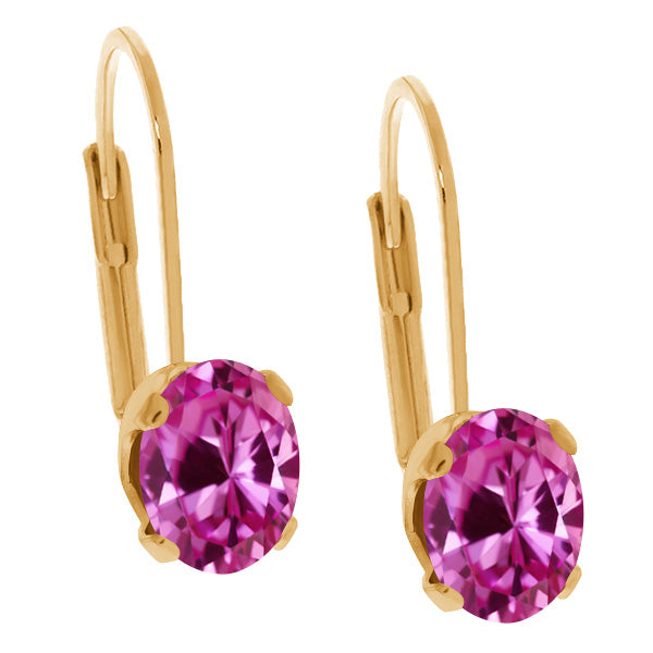Gem Stone King 1.00 Ct Oval Pink Created Sapphire 14K Yellow Gold Earrings