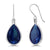 20.40 Ct Pear Shape Blue Simulated Sapphire 925 Sterling Silver Dangle Earrings