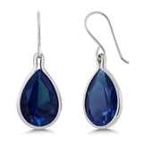 Gem Stone King 20.40 Ct Pear Shape Blue Simulated Sapphire 925 Sterling Silver Dangle Earrings