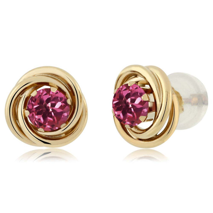 Gem Stone King 0.48 Ct Round 4mm Pink Tourmaline 14K Yellow Gold Stud Earrings