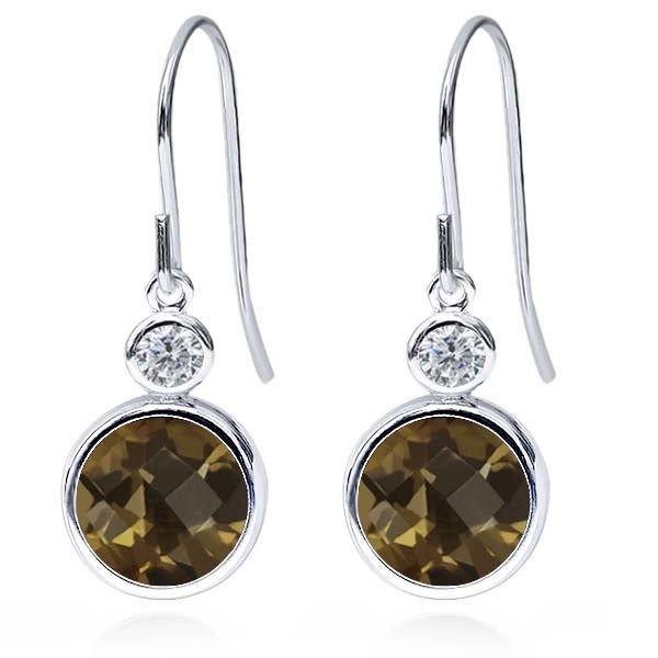 Gem Stone King 3.84 Ct Round Checkerboard Brown Smoky Quartz G/H Diamond 925 Sterling Silver Earrings