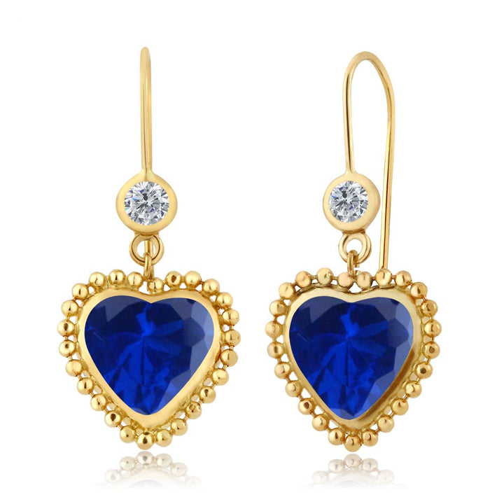 Gem Stone King 4.84 Ct Heart Shape Blue Simulated Sapphire G/H Diamond 14K Yellow Gold Earrings
