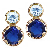 Gem Stone King 2.66 Ct Round Blue Simulated Sapphire Sky Blue Topaz 14K Yellow Gold Earrings