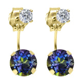 Gem Stone King 1.84 Ct Round Blue Mystic Topaz G/H Diamond 14K Yellow Gold Earrings
