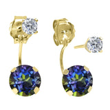 1.84 Ct Round Blue Mystic Topaz G/H Diamond 14K Yellow Gold Top&Bottom Earrings