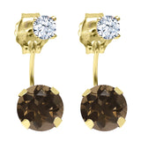 Gem Stone King 1.82 Ct Round Brown Smoky Quartz 14K Yellow Gold Earrings