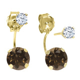 1.82 Ct Round Brown Smoky Quartz 14K Yellow Gold Top&Bottom Earrings