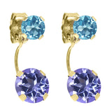 Gem Stone King 2.66 Ct Purple Blue Mystic Topaz Swiss Blue Topaz 14K Yellow Gold Earrings