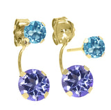 2.66 Ct Purple Blue Mystic Topaz Swiss Blue Topaz 14K Yellow Gold Earrings