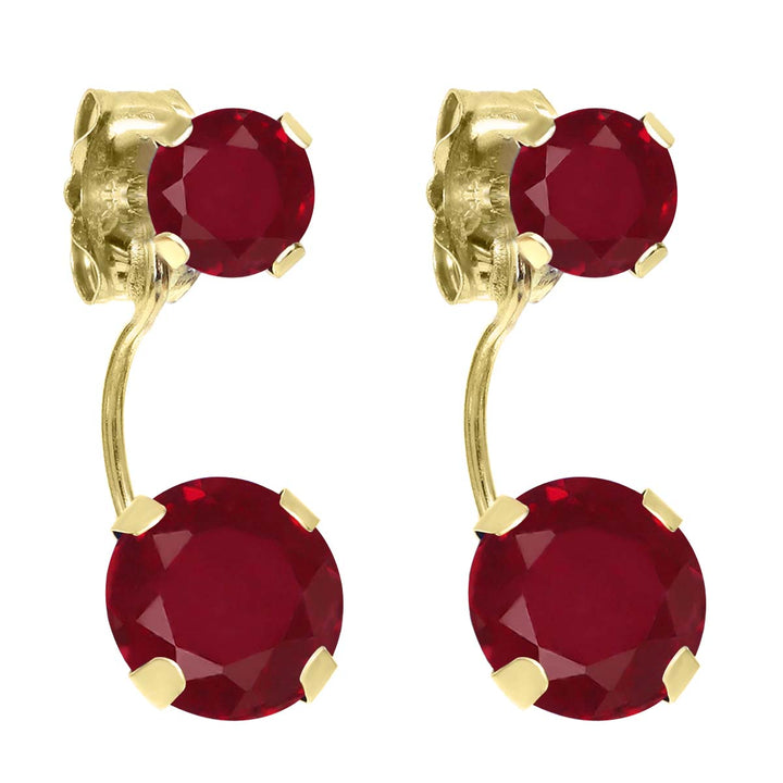 Gem Stone King 2.70 Ct Round Red Ruby 14K Yellow Gold Earrings